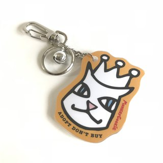 Molly cat wearing a crown bell acrylic key ring orange
