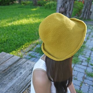 Mama の hand-made hat - handmade cotton rope crocheted hat / wide-brimmed hat - mustard yellow / gift / hiking / Mother's Day