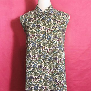 Round neck flower sleeveless vintage shirt / brought back to VINTAGE abroad