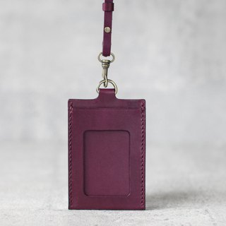 Grape purple handmade leather ID card case / holder/ badge holder