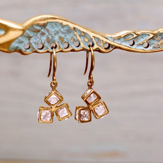 Brass square triangle diamond earrings zircon
