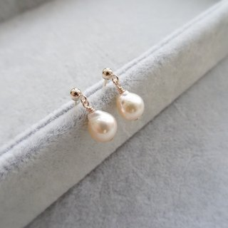 Pale Gold Baroque Saltwater Pearl 14K Gold Filled Drop Earrings