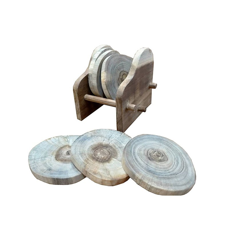 【吉迪市柚木家具】原木杯墊6個 含造型收納盒 木質杯墊 LT-070A1