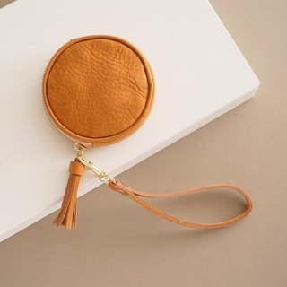 """RENÉE"" tassel three-dimensional round purse / headset storage / storage package plant tanning carving leather / plant tannage / vegetable tannage yellow"