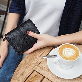 Charlotte: Mini wallet, Leather wallet, Black wallet, folded wallet