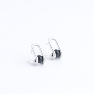 圓珠長銀耳環 (磨砂表面) Linear Round Well Earrings