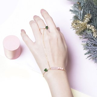 YUNSUO-original design-emerald and pink Swarovski crystal ring and bracelet