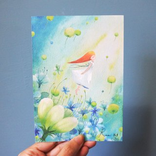 Rami watercolor hand drawn wind postcard - journey of flying girl with dandelion