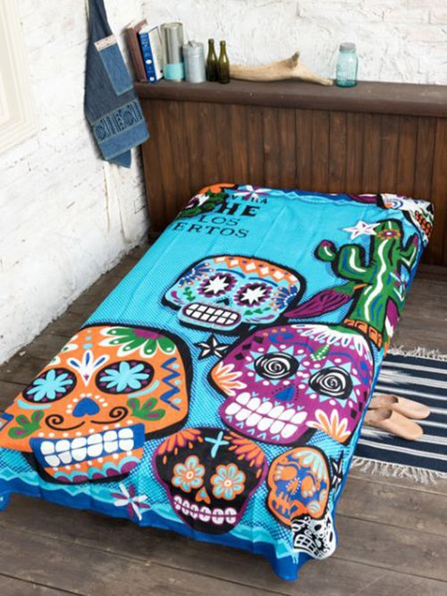 Pre-order. Lovely Mexican skeleton fabric カ ラ ベ ラ .3 color. ISAP8158