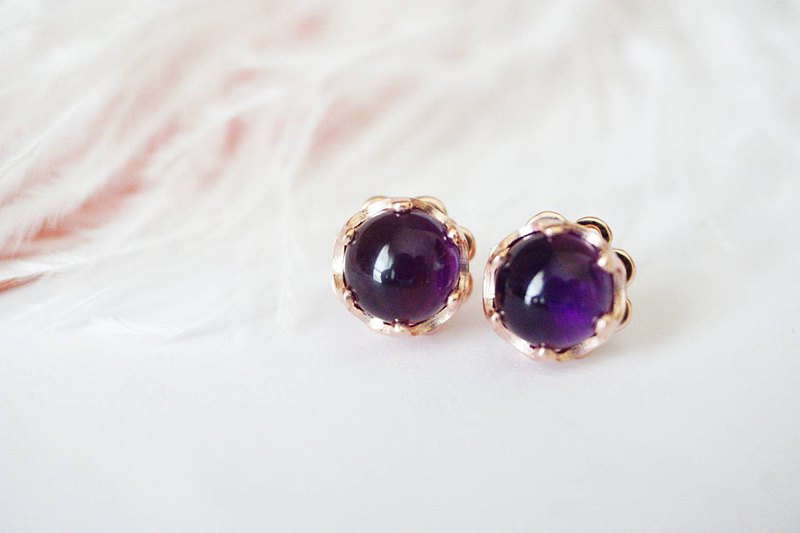 Natural Amethyst Silver Earrings, stud earrings