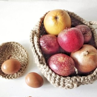 Handmade hemp crocheted soft ware - fruit basket
