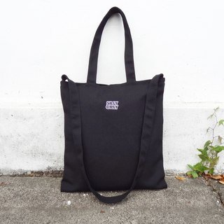 【Beginning of the course】 sharp Hilly LOGO black university / A4 / double cloth / inner bag / zipper / dual canvas bag