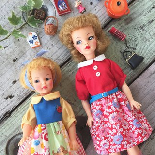 Tammy can wear retro red, pepper doll can wear candy wind handmade Japanese cloth stitching doll dress