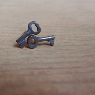 Little Black Key--Sterling Silver--Silver Tiny Key--Cute Key--Stud Earrings