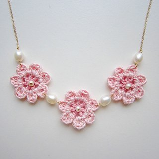Pink girl dream hand for flowers pearl necklace fresh pink