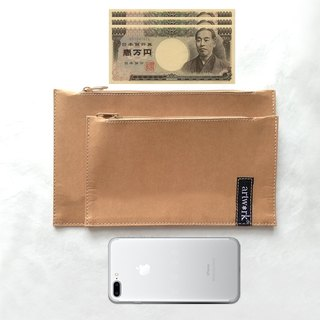 WASHABLE KRAFT PAPER WALLET WITH SMART PHONE POUCH OUTSIDE