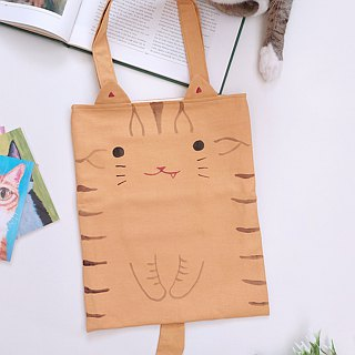 Hand-painted cat A4 tote bag / shoulder bag - orange tabby