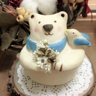 Pitt White Bear Floral porcelain couple