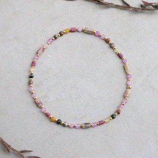 Purple jade coral topaz natural stone bracelet 0598 good thing near