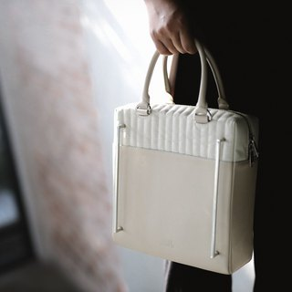 Liam bag in bone and ivory leather with silver hardware