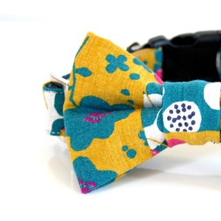 Cotton Linen Botanical Bow Tie Dog Collar - mustard, purple, blue green-Size small