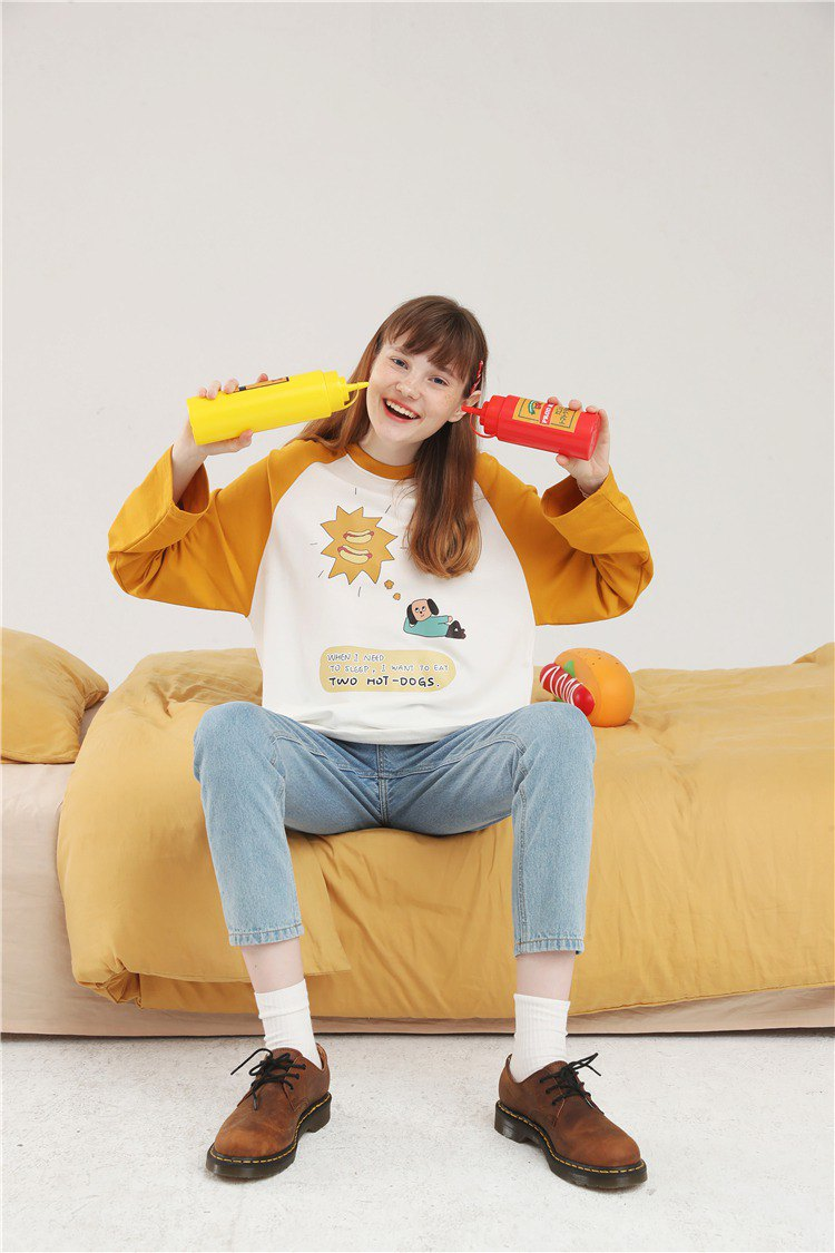 PROD ancient feeling girl long-sleeved T-shirt female two hot dogs cute Korean version of the contrast color loose female early autumn shirt