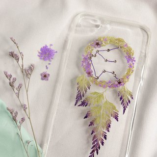 Aquarius Pressed Flower Dreamcatcher Phone Case | 12 Zodiac
