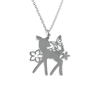 Cute bambi with flower and butterfly pendant
