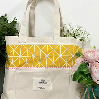 Scandinavian-style geometric pattern yellow / handbag / shoulder bag / cotton canvas / handmade