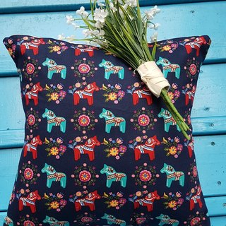 Nordic cute pony dark blue pattern pillow / cushion