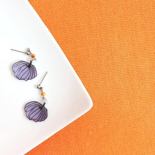 Purple Pumpkin - Earrings/ Ear clip - Hand Drawn