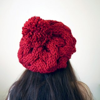 Thick needle twist detachable ball knitted wool beret - classic red