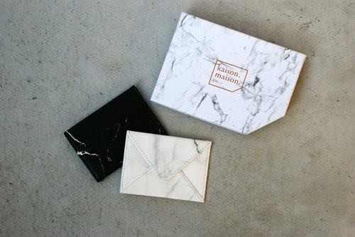 White marble envelope business card holder
