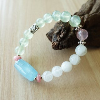 Quan Heart | sapphire sea grape Dan Yueguang rose quartz stone silver accessories elastic bracelet