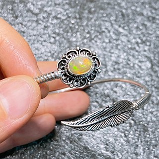 Opal Bangle Handmade in Nepal 92.5% Silver