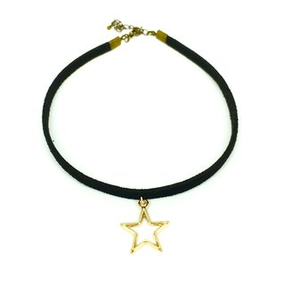 Golden baskets empty star necklace