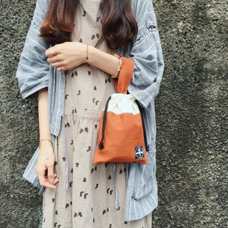 Beam handbag / bamboo cotton red brick color