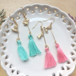 Zoe's forest Fawn and Squirrel Bunny Tassel Dangle Earrings