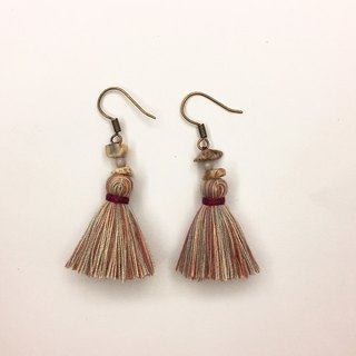 Air rock lotus pink tassel Ear hook / ear clip