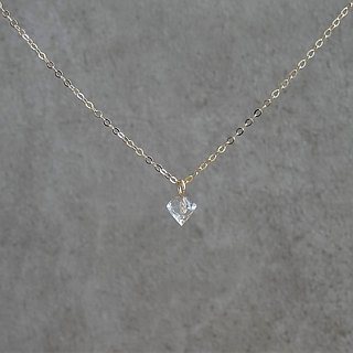 Petite Faceted Diamond Shaped Clear Quartz Crystal  Charm 14K GF Necklace