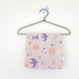 Everyday small things Nordic wind birds and trees double cotton yarn towel powder purple gray
