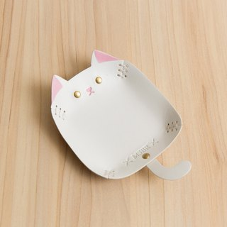 Animal Series - Hand painted leather small cap / jewelry storage / (white cat)