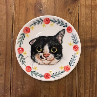 Hand-painted 5 吋 snack plate small dish - black and white banquet cat sesame - spot