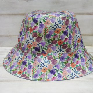 Colorful watercolor flowers denim blue double-sided fisherman hat visor