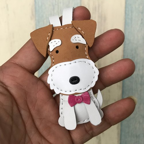 Leatherprince Handmade Leather Taiwan MIT Coffee/White Cute Puppy Hand-sewn Leather Charm Small size small size