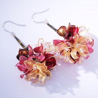 X-ray single autumn flower ball gold x red single hand made jewelry earrings