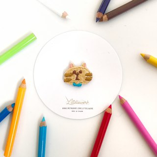 Littdlework Mini Embroidered Badge | Neckline Chapter | Brown Cat