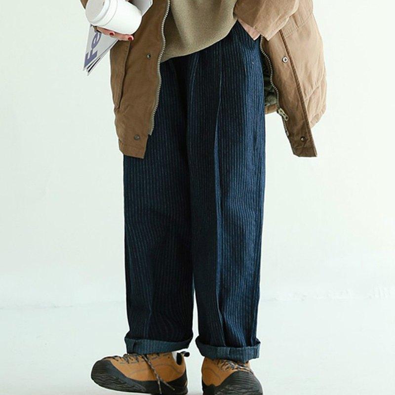 深藍色豎條紋 2色 日系運動寬鬆長褲 中性男友風休閒工裝褲 M-2XL