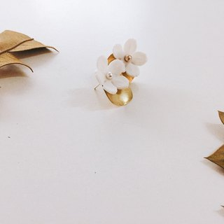 Brass Irregular White Flower Earrings