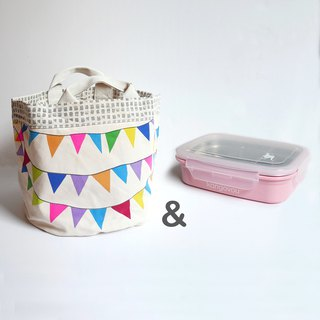 [Goody Bag]fluf-storage bag-Happy party+Kangovou stainless steel double-layer lunch box